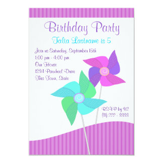 Purple and Blue Pinwheels Birthday Party Card