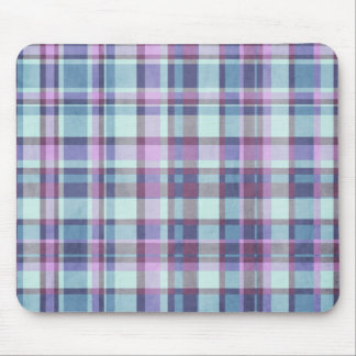 Purple and Blue Plaid Pattern Mouse Pads