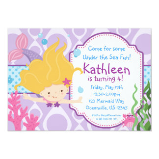 Purple and Blue Polka Dots Blonde Mermaid Birthday 5x7 Paper Invitation Card