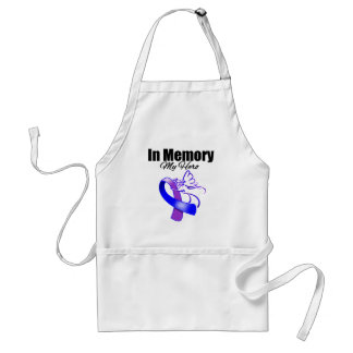 Purple and Blue Ribbon In Memory of My Hero Adult Apron
