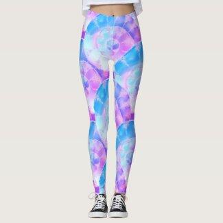 Purple And Blue Shells Patterned Leggings