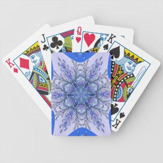 Purple and blue snowflake card decks
