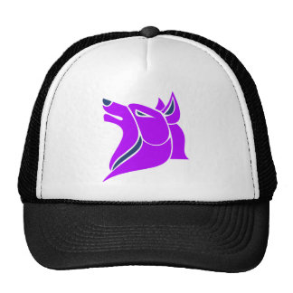 Purple and Blue Solid Wolf Head Mesh Hats