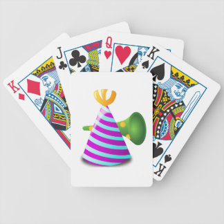 Purple and Blue Striped Party Hat and Green Horn Bicycle Playing Cards