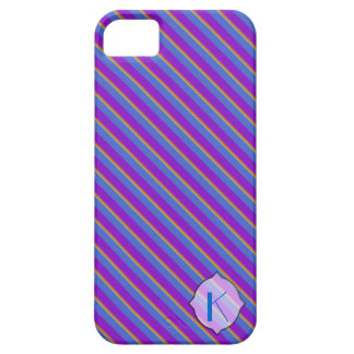 Purple and Blue Stripes Monogram Iphone 5 Case