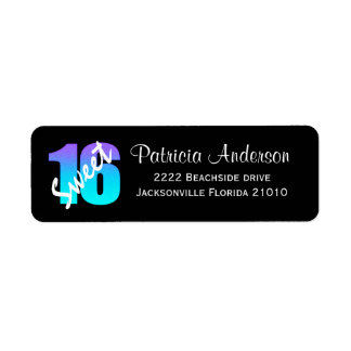 Purple And Blue Sweet 16 Address Labels