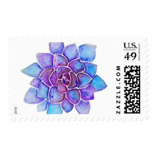 Purple and Blue Watercolor Succulent Postage