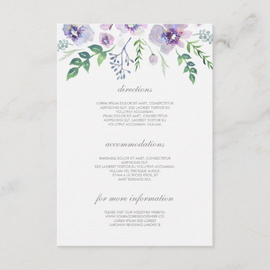 Purple And Blue Wedding Details Information Enclosure Card