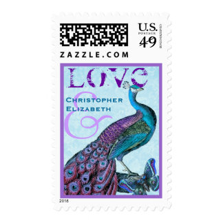 Purple and Blue Wedding LOVE Peacock Postage Stamp
