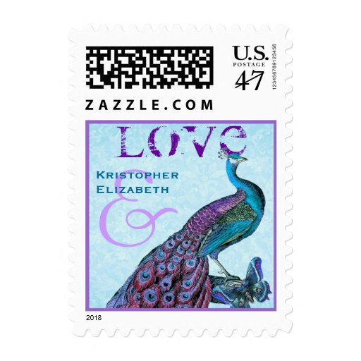Purple and Blue Wedding LOVE Peacock S001 Postage