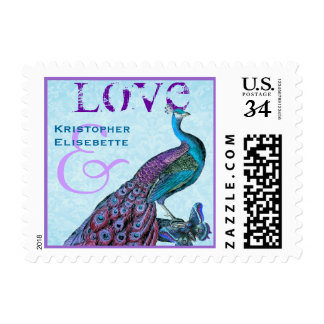Purple and Blue Wedding LOVE Peacock S002 Stamp