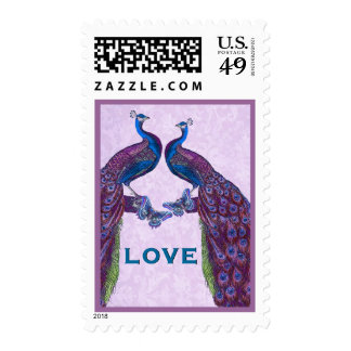 Purple and Blue Wedding LOVE Peacock Stamp