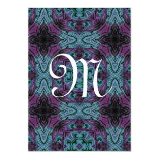 Purple and Blue Wedding  Monogram Template G201 Card