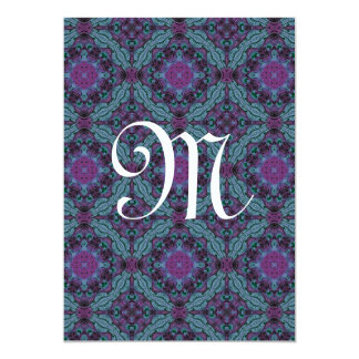 Purple and Blue Wedding  Monogram Template G202 Card