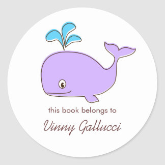 Purple and blue Whale Bookplates Round Stickers