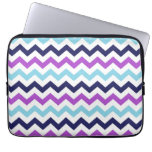 Purple and Blue Zig Zag Chevrons Pattern Laptop Sleeve