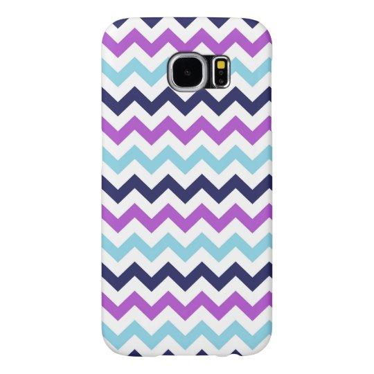 Purple and Blue Zig Zag Chevrons Pattern Samsung Galaxy S6 Case