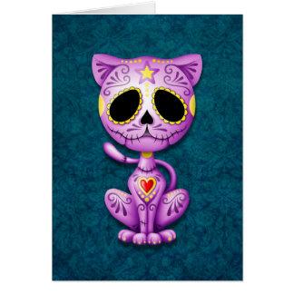 Purple and Blue Zombie Sugar Kitten Card