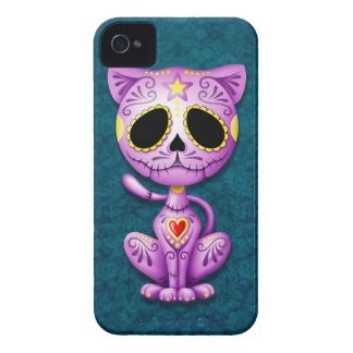 Purple and Blue Zombie Sugar Kitten iPhone 4 Covers