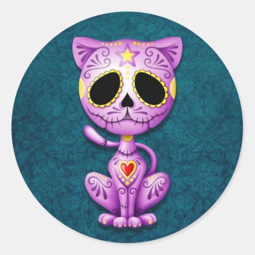 Purple and Blue Zombie Sugar Kitten Classic Round Sticker