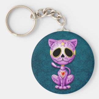 Purple and Blue Zombie Sugar Kitten Basic Round Button Keychain