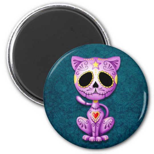 Purple and Blue Zombie Sugar Kitten Magnet