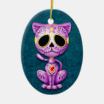 Purple and Blue Zombie Sugar Kitten Ceramic Oval Ornament