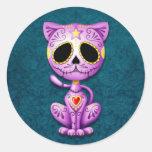 Purple and Blue Zombie Sugar Kitten Round Sticker
