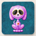 Purple and Blue Zombie Sugar Puppy Beverage Coasters