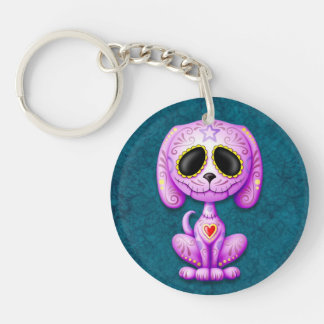 Purple and Blue Zombie Sugar Puppy Acrylic Key Chains