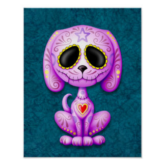 Purple and Blue Zombie Sugar Puppy Posters