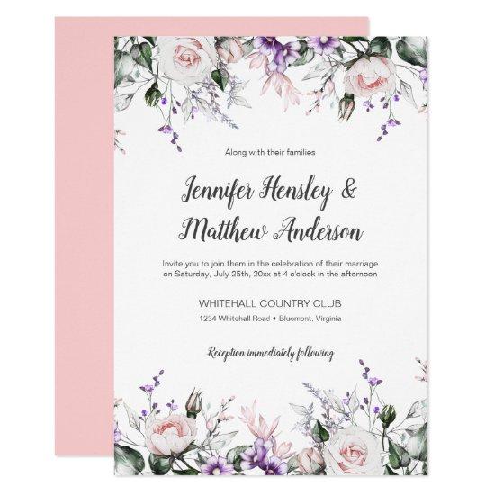 Purple and Blush Watercolor Floral Drop Wedding | Invitation
