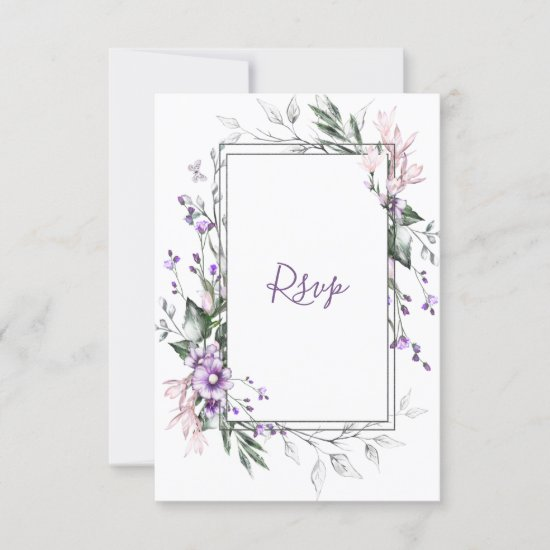 Purple and Blush Watercolor Floral Frame | RSVP Card