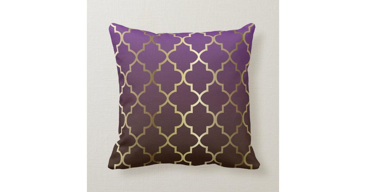 Purple and Brown Blend Gold Quatrefoil Pattern Pillow Zazzle