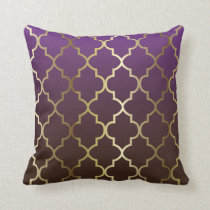 Purple and Brown Blend | Gold Quatrefoil Pattern Throw Pillow
