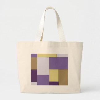 Purple and Brown Color Block Tote Bag
