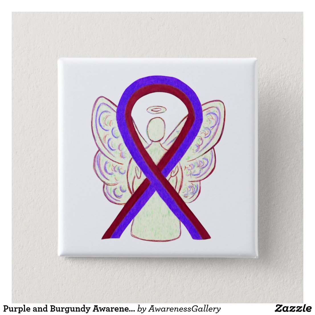 Purple and Burgundy Awareness Ribbon Angel Button