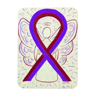 Purple and Burgundy Awareness Ribbon Angel Magnets