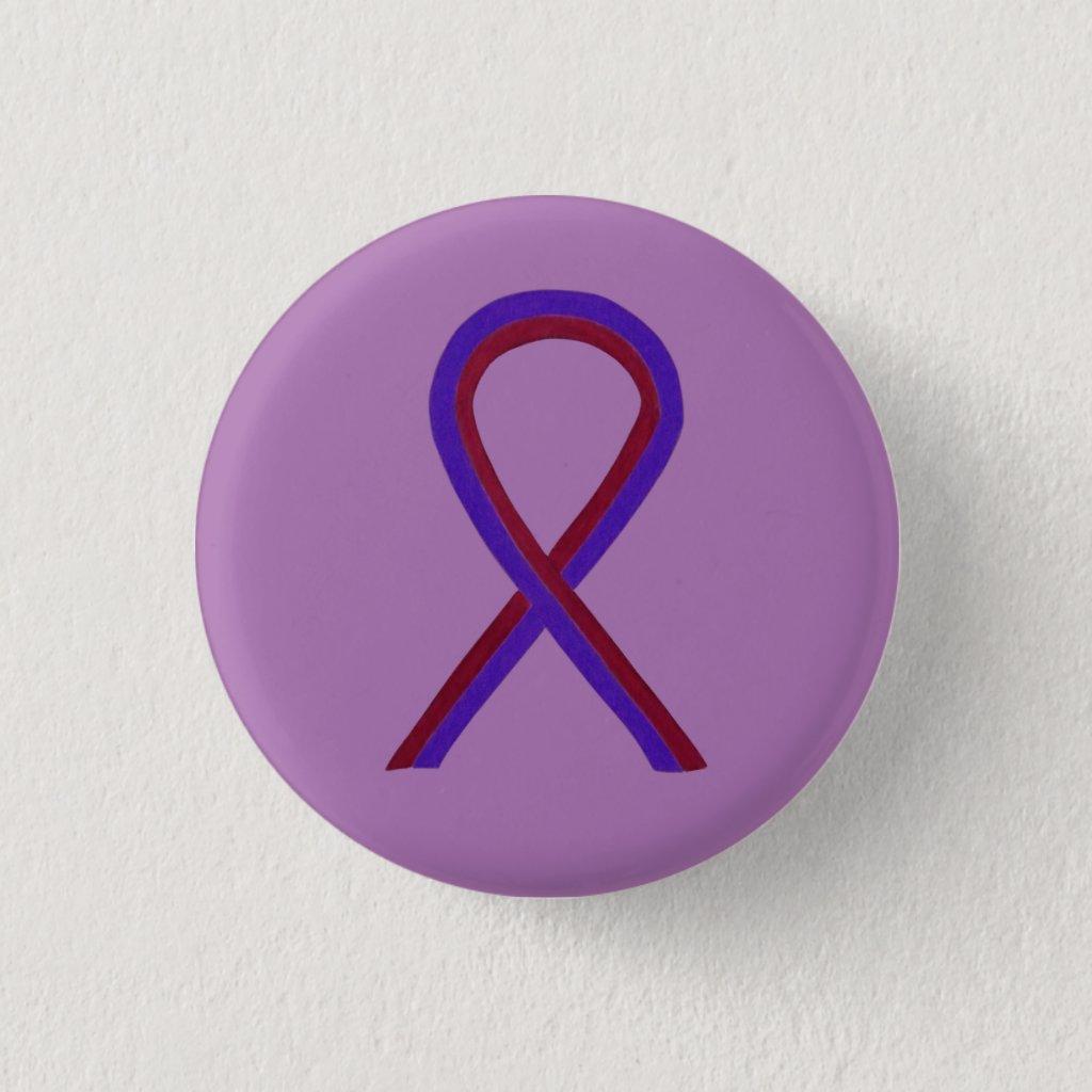 Purple and Burgundy Awareness Ribbon Custom Button