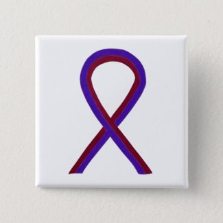 Purple and Burgundy Awareness Ribbon Custom Button