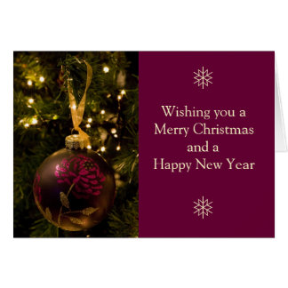 Purple and Burgundy Christmas Bauble Card