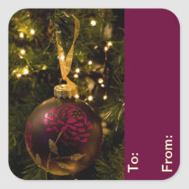 Purple and Burgundy Christmas Bauble Gift Tags Square Sticker