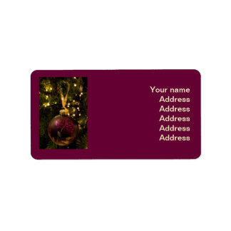Purple and Burgundy Christmas Bauble Label