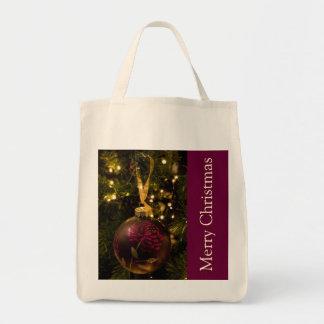 Purple and Burgundy Christmas Bauble Tote Bag