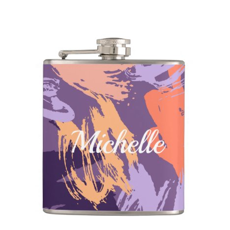 Purple and Coral Abstract Monogrammed Flask