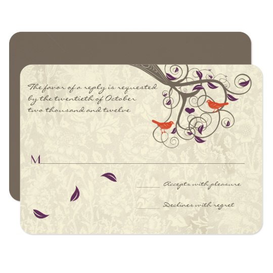 Purple and Coral Tree Love Birds Wedding RSVP Card