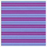 [ Thumbnail: Purple and Cornflower Blue Stripes Fabric ]