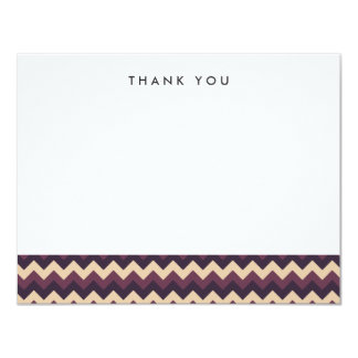 "Purple and Cream Chevron Thank You Note Cards 4.25"" X 5.5"" Invitation Card"