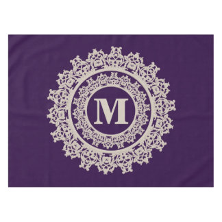 Purple and Cream Elegant Monogram Tablecloth