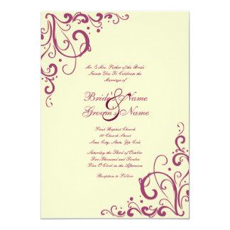 Purple and Cream Flourish Wedding Invitation